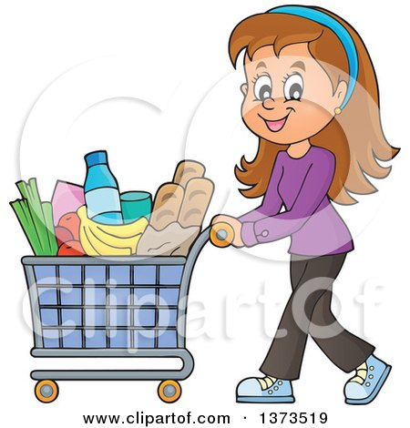Clipart of a Cartoon Happy White Woman Pushing a Shopping Cart Full of Groceries - Royalty Free Vector Illustration by visekart