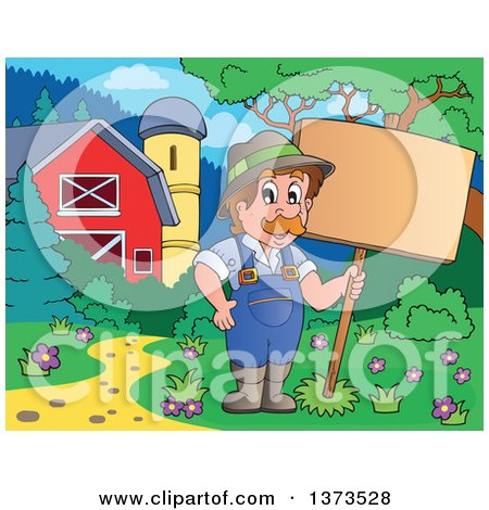 Clipart of a Happy White Male Farmer Holding a Blank Sign near a Barn - Royalty Free Vector Illustration by visekart