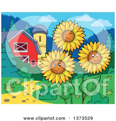 Clipart of Happy Sunflowers Smiling near a Barn and Silo - Royalty Free Vector Illustration by visekart