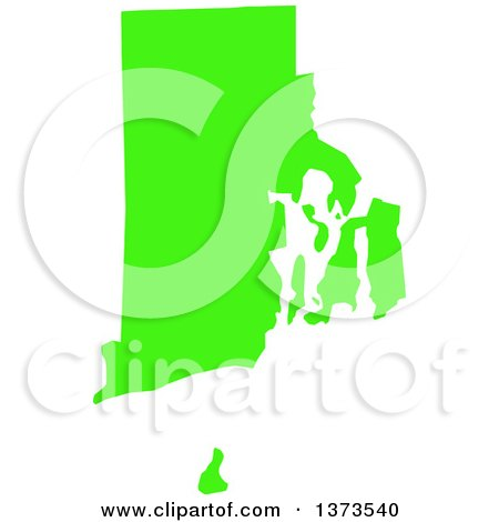Clipart of a Lyme Disease Awareness Lime Green Colored Silhouetted Map of the State of Rhode Island, United States - Royalty Free Vector Illustration by Jamers