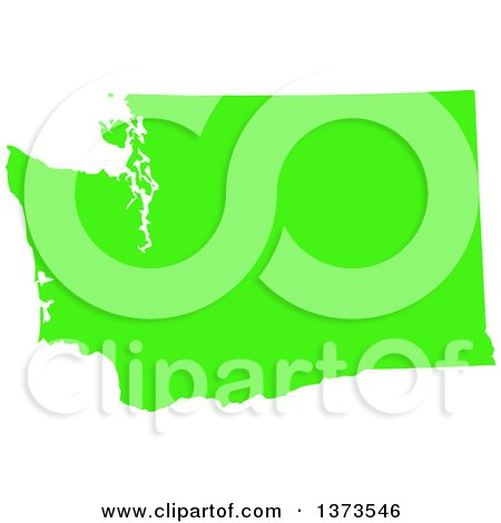 Clipart of a Lyme Disease Awareness Lime Green Colored Silhouetted Map of the State of Washington, United States - Royalty Free Vector Illustration by Jamers