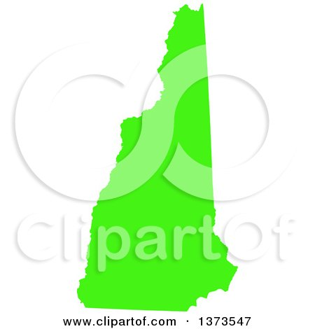 Clipart of a Lyme Disease Awareness Lime Green Colored Silhouetted Map of the State of New Hampshire, United States - Royalty Free Vector Illustration by Jamers
