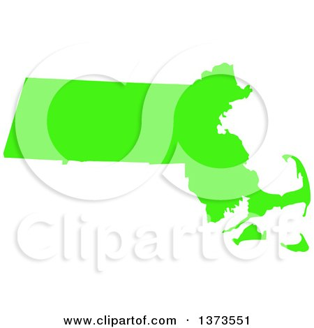 Clipart of a Lyme Disease Awareness Lime Green Colored Silhouetted Map of the State of Massachusetts, United States - Royalty Free Vector Illustration by Jamers