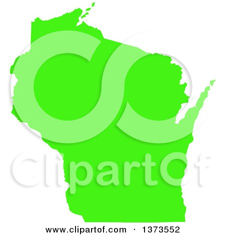 Clipart of a Lyme Disease Awareness Lime Green Colored Silhouetted Map of the State of Wisconsin, United States - Royalty Free Vector Illustration by Jamers