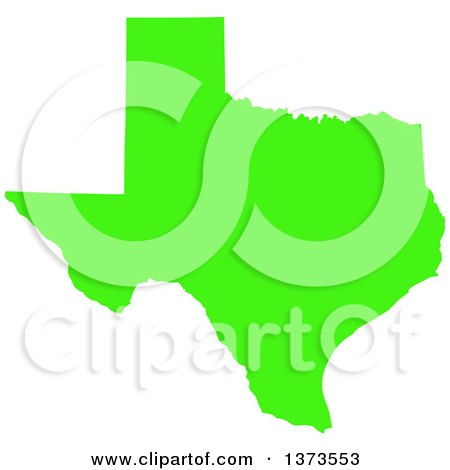 Clipart of a Lyme Disease Awareness Lime Green Colored Silhouetted Map of the State of Texas, United States - Royalty Free Vector Illustration by Jamers