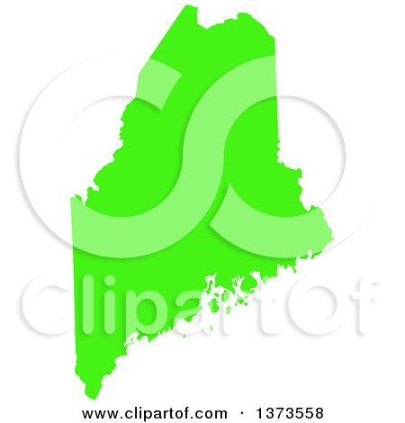 Clipart of a Lyme Disease Awareness Lime Green Colored Silhouetted Map of the State of Maine, United States - Royalty Free Vector Illustration by Jamers