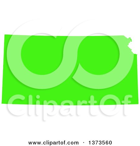 Clipart of a Lyme Disease Awareness Lime Green Colored Silhouetted Map of the State of Kansas, United States - Royalty Free Vector Illustration by Jamers