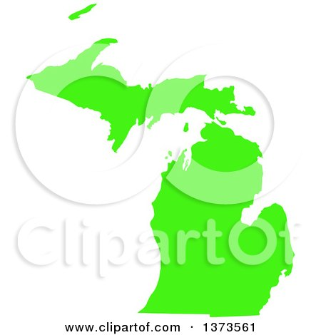 Clipart of a Lyme Disease Awareness Lime Green Colored Silhouetted Map of the State of Michigan, United States - Royalty Free Vector Illustration by Jamers