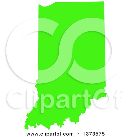 Lyme Disease Awareness Lime Green Colored Silhouetted Map Of The State Of Indiana United States