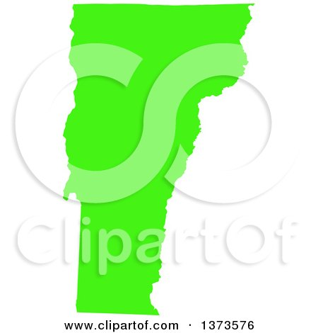 Clipart of a Lyme Disease Awareness Lime Green Colored Silhouetted Map of the State of Vermont, United States - Royalty Free Vector Illustration by Jamers
