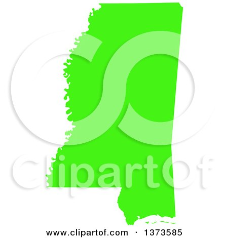 Clipart of a Lyme Disease Awareness Lime Green Colored Silhouetted Map of the State of Mississippi, United States - Royalty Free Vector Illustration by Jamers