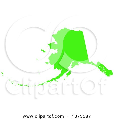 Clipart of a Lyme Disease Awareness Lime Green Colored Silhouetted Map of the State of Alaska, United States - Royalty Free Vector Illustration by Jamers