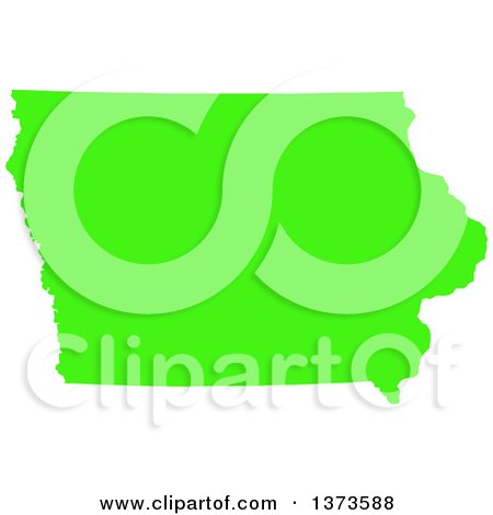 Clipart of a Lyme Disease Awareness Lime Green Colored Silhouetted Map of the State of Iowa, United States - Royalty Free Vector Illustration by Jamers