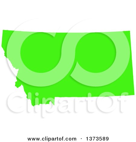 Clipart of a Lyme Disease Awareness Lime Green Colored Silhouetted Map of the State of Montana, United States - Royalty Free Vector Illustration by Jamers
