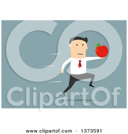 Clipart of a Flat Design White Business Man Sprinting with an Apple, on Blue - Royalty Free Vector Illustration by Vector Tradition SM