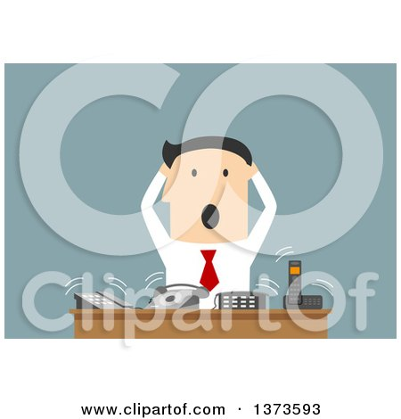 Clipart of a Flat Design Stressed White Business Man at a Desk with Ringing Phones, on Blue - Royalty Free Vector Illustration by Vector Tradition SM