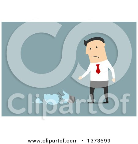 Clipart of a Flat Design White Business Man with a Shattered Idea Light Bulb, on Blue - Royalty Free Vector Illustration by Vector Tradition SM