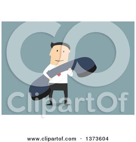 Clipart of a Flat Design White Business Man Holding a Telephone Receiver, on Blue - Royalty Free Vector Illustration by Vector Tradition SM