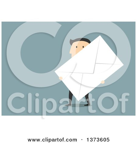 Clipart of a Flat Design White Business Man Carrying a Giant Envelope, on Blue - Royalty Free Vector Illustration by Vector Tradition SM