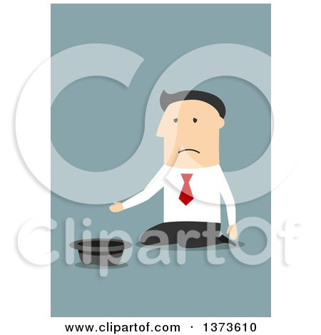 Clipart of a Flat Design White Business Man Kneeling and Begging, on Blue - Royalty Free Vector Illustration by Vector Tradition SM