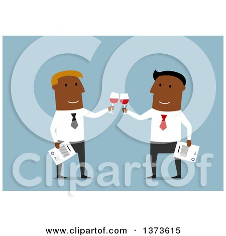 Clipart of a Flat Design Black Business Men Toasting with Wine, on Blue - Royalty Free Vector Illustration by Vector Tradition SM