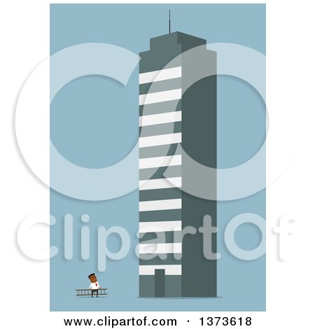 Clipart of a Flat Design Black Business Man Looking up at a Giant Building, on Blue - Royalty Free Vector Illustration by Vector Tradition SM