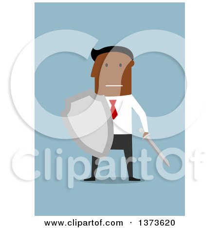 Clipart of a Flat Design Black Business Man Holding a Sword and Shield, on Blue - Royalty Free Vector Illustration by Vector Tradition SM