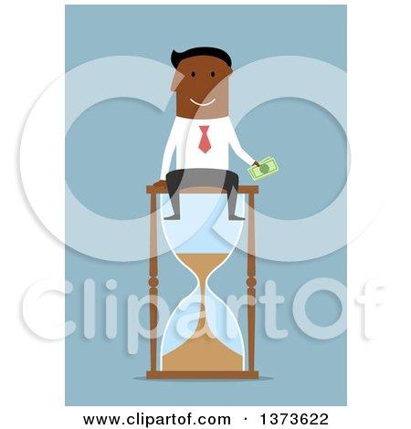 Clipart of a Flat Design Black Business Man Holding Cash and Sitting on an Hourglass, on Blue - Royalty Free Vector Illustration by Vector Tradition SM