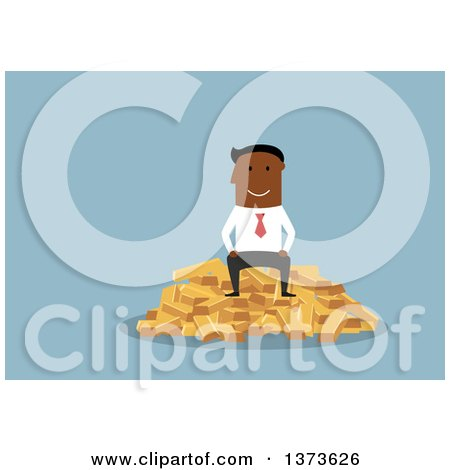 Clipart of a Flat Design Black Business Man Sitting on a Pile of Gold Bullion Bars, on Blue - Royalty Free Vector Illustration by Vector Tradition SM
