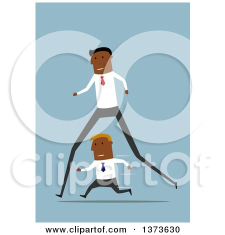 Clipart of a Flat Design Long Legged Black Business Man Passing a Short Man, on Blue - Royalty Free Vector Illustration by Vector Tradition SM