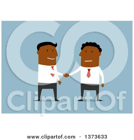 Clipart of Flat Design Black Business Men Shaking Hands, on Blue - Royalty Free Vector Illustration by Vector Tradition SM