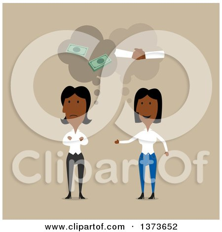 Clipart of Flat Design Black Business Women Thinking of Good and Bad if They Were to Partner, on Tan - Royalty Free Vector Illustration by Vector Tradition SM