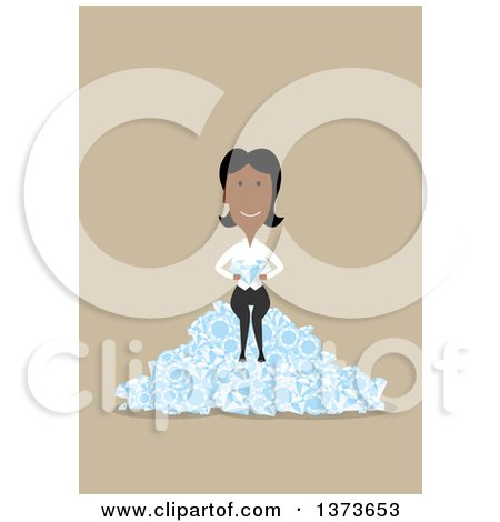 Clipart of a Flat Design Black Business Woman Sitting on a Pile of Diamonds, on Tan - Royalty Free Vector Illustration by Vector Tradition SM