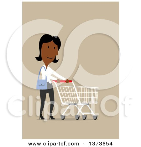 Clipart of a Flat Design Black Business Woman Pushing a Shopping Cart, on Tan - Royalty Free Vector Illustration by Vector Tradition SM