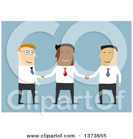 Clipart of a Flat Design Team of White, Asian and Black Business Men Shaking Hands, on Blue - Royalty Free Vector Illustration by Vector Tradition SM