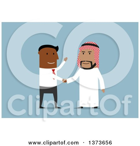 Clipart of a Flat Design Black Business Man Shaking Hands with an Arabian Man, on Blue - Royalty Free Vector Illustration by Vector Tradition SM