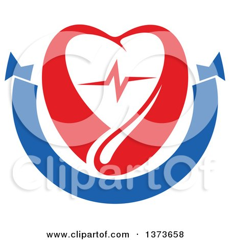 Clipart of a Red Blood Drop with a Heart and Graph over a Blank Blue Banner - Royalty Free Vector Illustration by Vector Tradition SM
