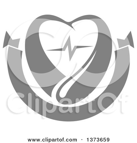 Clipart of a Gray Blood Drop with a Heart and Graph over a Blank Banner - Royalty Free Vector Illustration by Vector Tradition SM