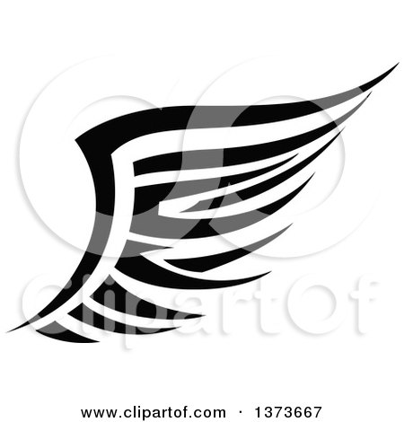 Clipart of a Black and White Tribal Angel or Bird Wing - Royalty Free Vector Illustration by Vector Tradition SM