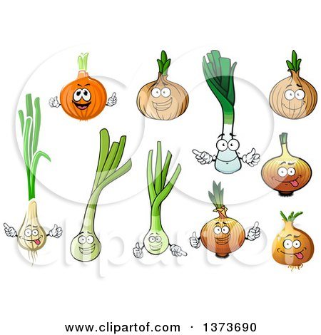 Clipart of Onion and Leek Characters - Royalty Free Vector Illustration by Vector Tradition SM