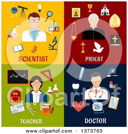 Clipart of a Scientist, Priest, Teacher and Doctor with Text - Royalty Free Vector Illustration by Vector Tradition SM