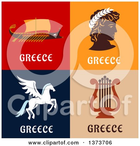 Clipart of Greek Items - Royalty Free Vector Illustration by Vector Tradition SM