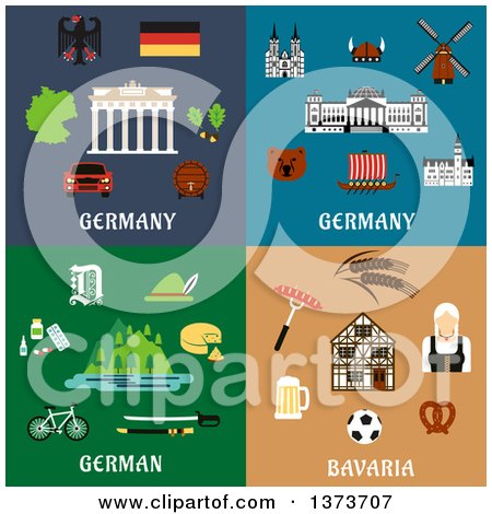 Clipart of German Items and Landmarks with Text - Royalty Free Vector Illustration by Vector Tradition SM
