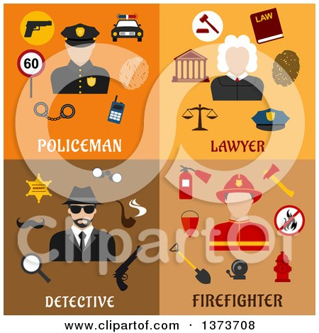 Clipart of a Policeman, Lawyer, Detective and Firefighter with Text - Royalty Free Vector Illustration by Vector Tradition SM