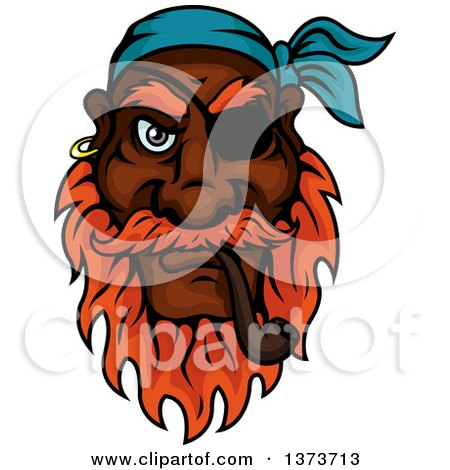 Clipart of a Cartoon Tough Black Male Pirate Captain with a Red Beard and Eye Patch, Smoking a Pipe - Royalty Free Vector Illustration by Vector Tradition SM