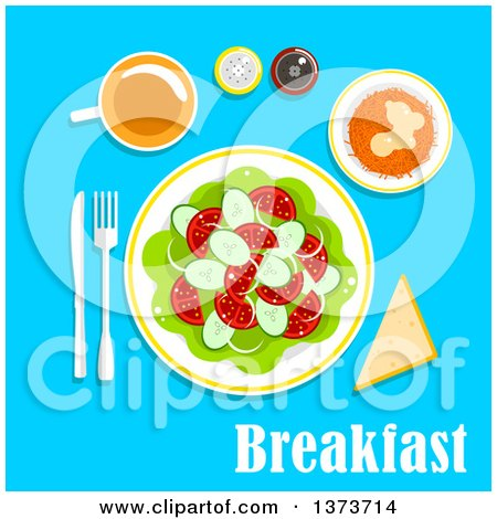 Vegetarian Breakfast Salad with a Cup of Tea, Bread, Salt and Pepper Shakers, with Text on Blue Posters, Art Prints