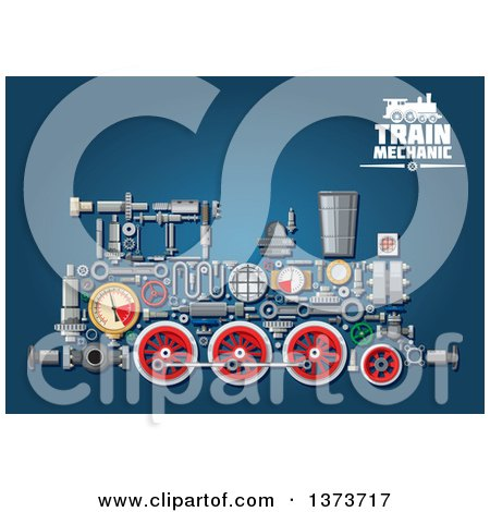 Clipart of a Steam Engine Train with Visible Mechanical Parts and Text on Blue - Royalty Free Vector Illustration by Vector Tradition SM