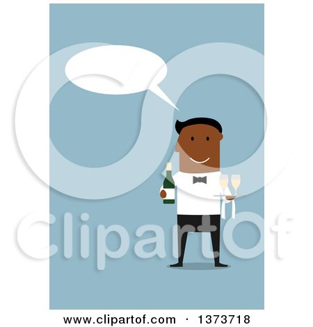 Clipart of a Flat Design Black Happy Male Waiter Talking and Holding Champagne, on Blue - Royalty Free Vector Illustration by Vector Tradition SM