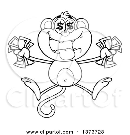 Cartoon Clipart of a Black and White Rich Monkey Mascot with Dollar Eyes, Holding Cash Money and Jumping - Royalty Free Vector Illustration by Hit Toon