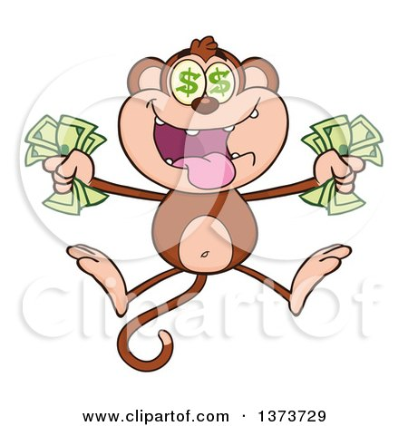 Cartoon Clipart of a Rich Monkey Mascot with Dollar Eyes, Holding Cash Money and Jumping - Royalty Free Vector Illustration by Hit Toon